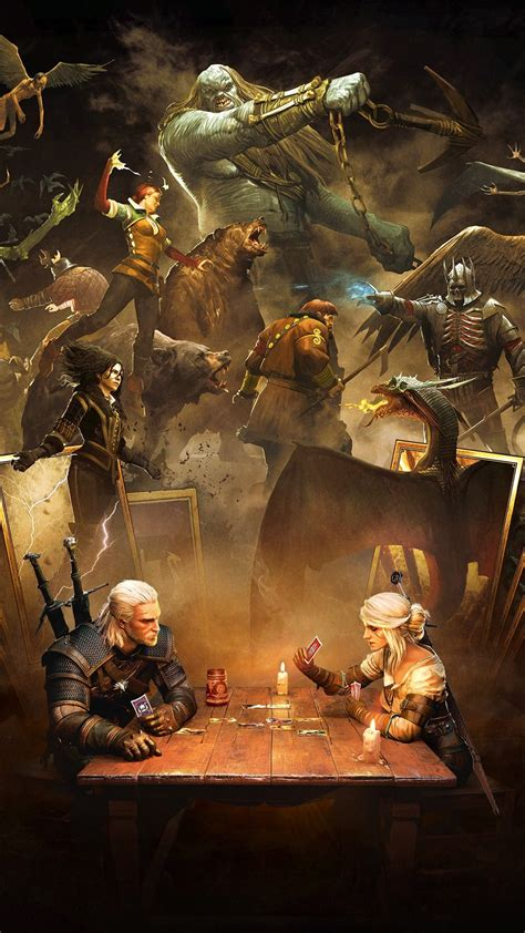 the witcher 3 hunt play cards 1080x1920 iphone 8 7 6 6s plus wallpaper background
