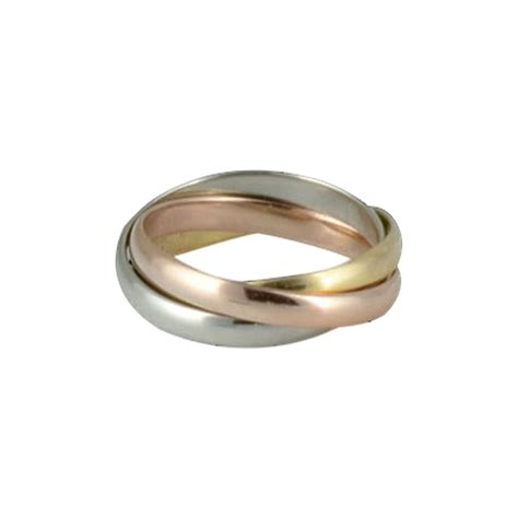 cartier ring golden gold two three tones ref