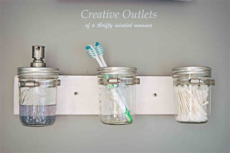 diy bathroom organizer creative outlets of a thrifty minded momma mason jar