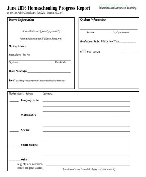 homeschool middle school report card template 17 report card template 6 free word excel pdf
