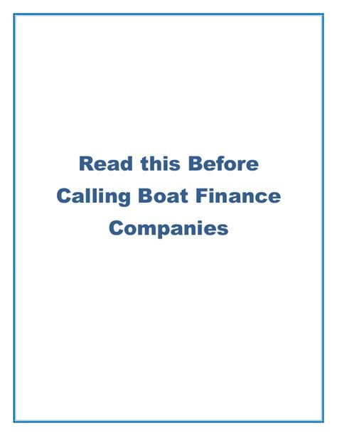 boat financing companies read this before calling boat finance companies