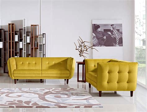 yellow living room chair contemporary yellow fabric tufted sofa set with wooden