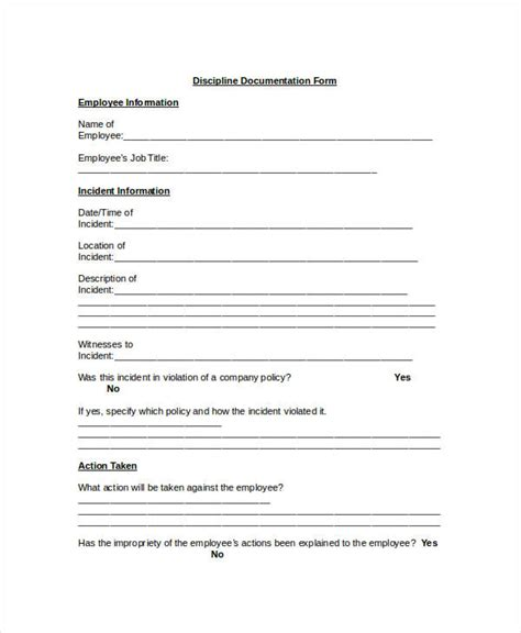 Employee Discipline Form Template Business Documenting Employee Performance Problems Template