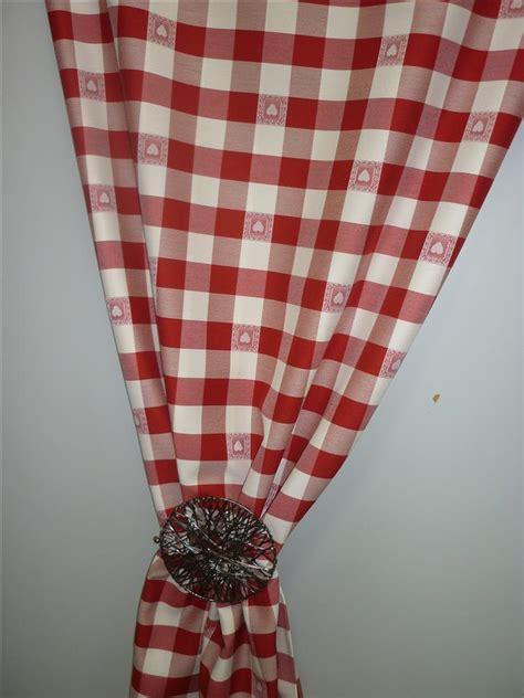 vorhang landhaus deko stoffe gardine vorhang landhaus karo mit herz ebay