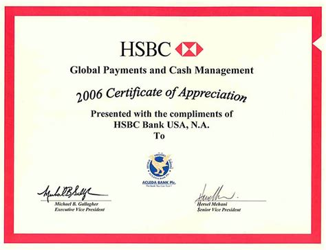 Bank Letter Certificate Certificate Of Appreciation For Global Payments And Management From Hsbc