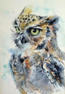 water color owl owl painting by kovacs brigitta