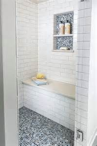 Bathroom Niche Ideas Accent Penny Tile In Niche And On Floor Bathrooms