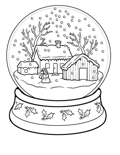 winter a grayscale coloring book books snow globe coloring page coloring home