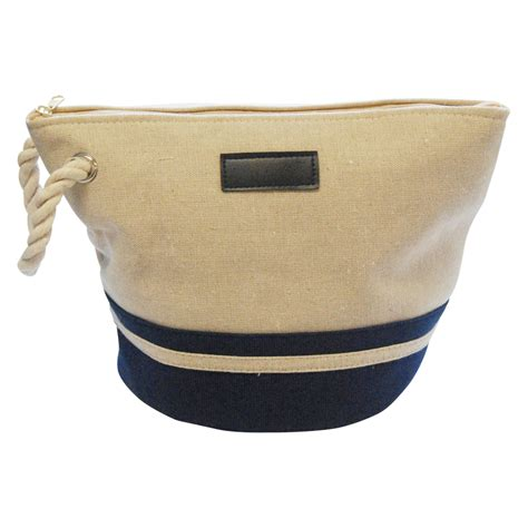 canvas rope handle cosmetic bag embroidery blanks navy