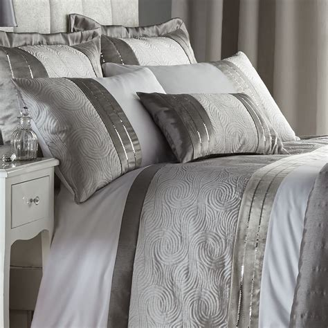 Catherine Set catherine lansfield gatsby silver sequin white duvet quilt