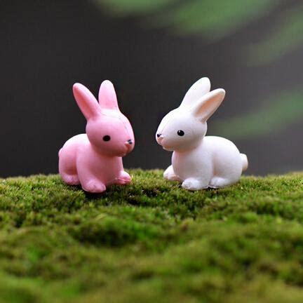 Bunny Gnome Pink artificial mini rabbit cony pink white garden miniatures gnomes moss terrariums resin