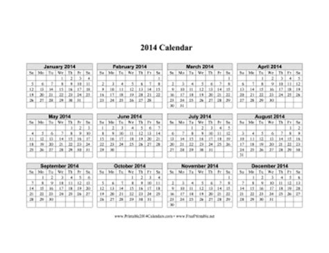 Printable Calendar Grid 2014 | printable 2014 calendar on one page horizontal grid