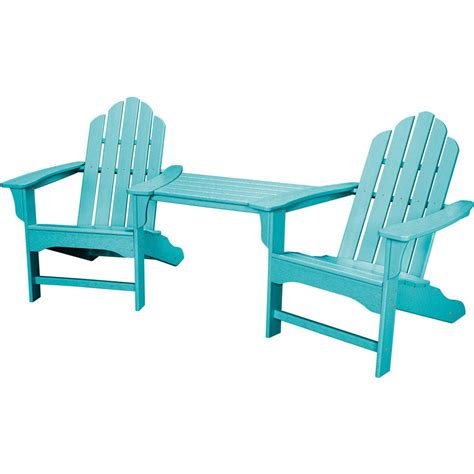 Teal Adirondack Chairs by Hanover Aruba Blue 3 All Weather Plastic Patio