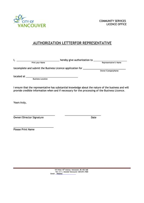 Fillable Authorization Letter Template For Representative