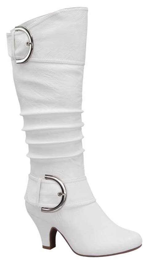 new womens mid knee calf faux leather white high heel zip