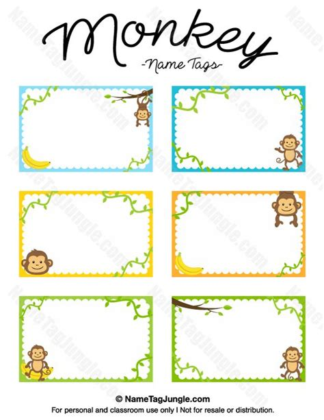 printable name tags for cubbies free printable monkey name tags the template can also be