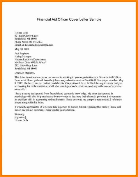 cover letter for financial aid cover letter exle