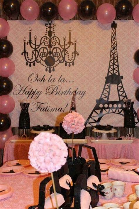 paris themed events parisian french paris pink pink and black birthday