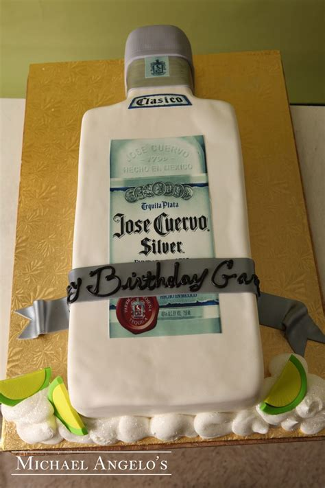 Cetakan Fondant Liquor Bottle jose cuervo silver 16food this cake design is iced in white fondant then topped with edible