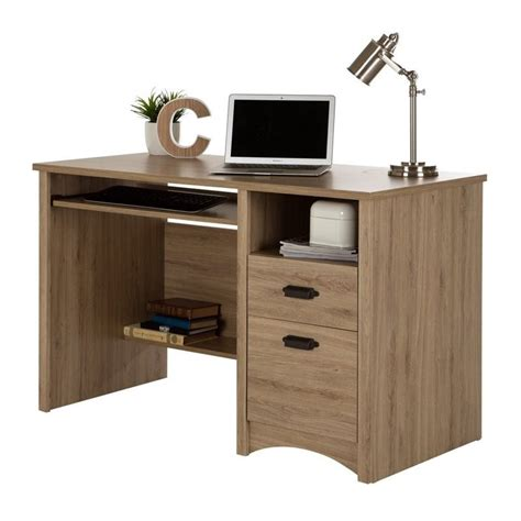 Rustic Computer Desks South Shore Gascony 2 Drawers Wood Computer Desk In Rustic Oak 9064070