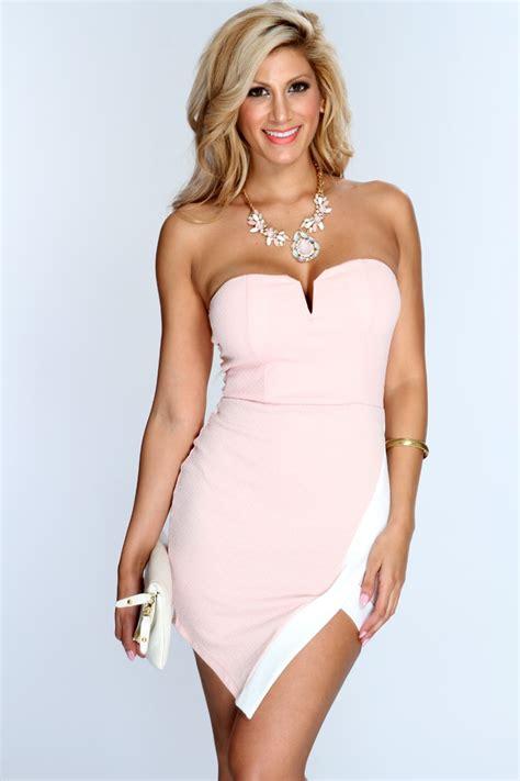 Mini Dress Two pink strapless two tone mini dress