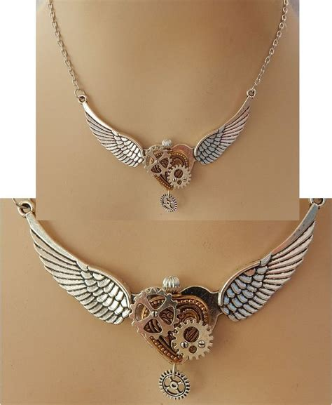 Handmade Cing Gear - silver steunk wings gears necklace jewelry