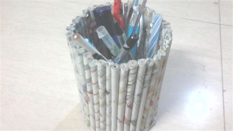 How To Make Pen Stand Using Paper - diy how to make pen stand using news paper rolls