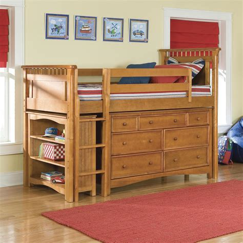 bunk beds with dresser built in brown oak bunk bed with ladder and comforter plus bed