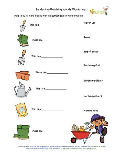 printable matching quiz maker kids gardening tools matching activity sheet gardening