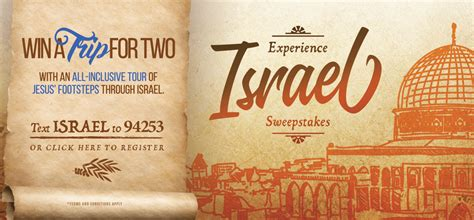 Israel Sweepstakes - upliftv offers a chance to win an all inclusive trip to the holy land with the