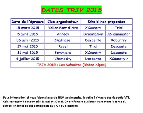 Calendrier 2017 Interactif Planning Sortie Ecole Vtt D Avril 224 Juin 2015 V 233 Lo Club