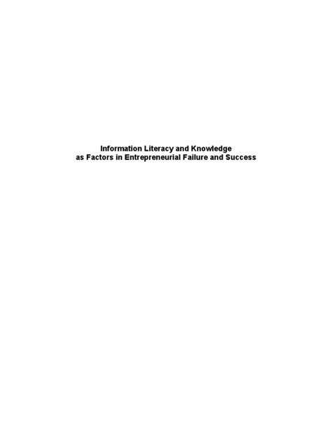 Knowledge and Information Literacy in Business