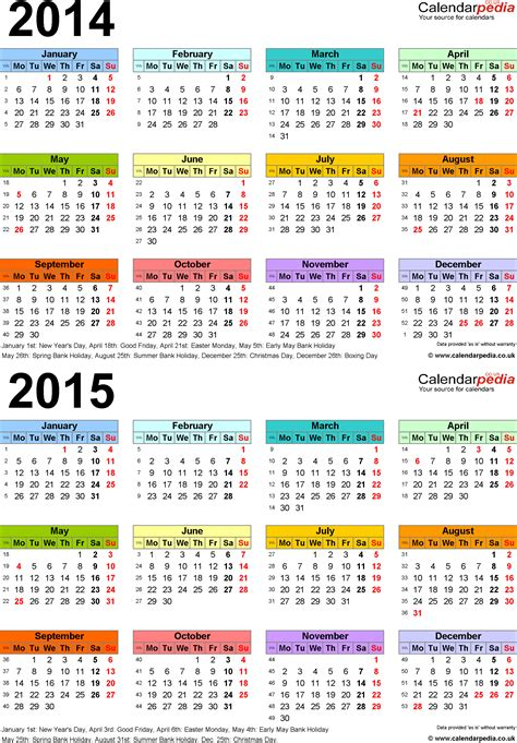 printable daily calendar 2015 uk two year calendars for 2014 2015 uk for word