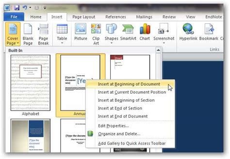 book layout in word 2010 how to create custom cover pages in microsoft word 2010