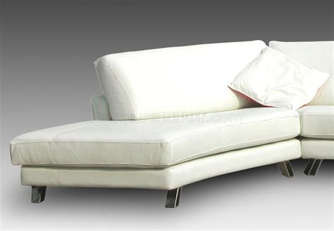 white leather modern sectional sofa w chrome metal legs