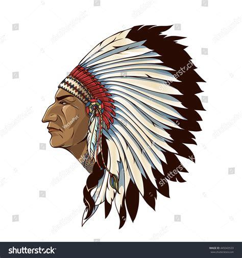 tribal pattern headdress single american indian profile tribal headdress stock