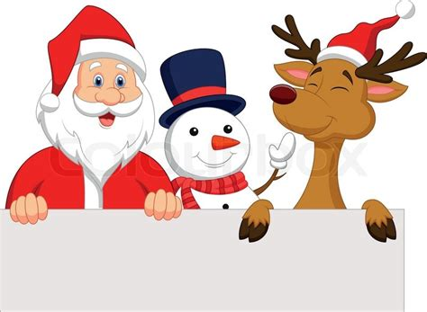 animated photos of christmas santa claus with reindeer vector illustration of santa claus reindeer and snowman with blank sign stock vector