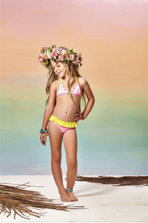 Little Girls Pink And Yellow Two piece Triangle Swimsuit