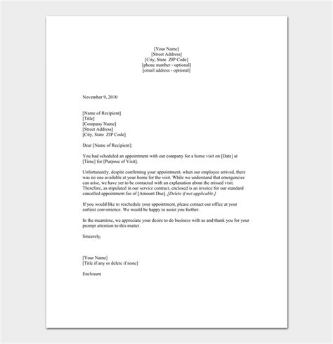 missed appointment letter template missed appointment letter 10 sle letters