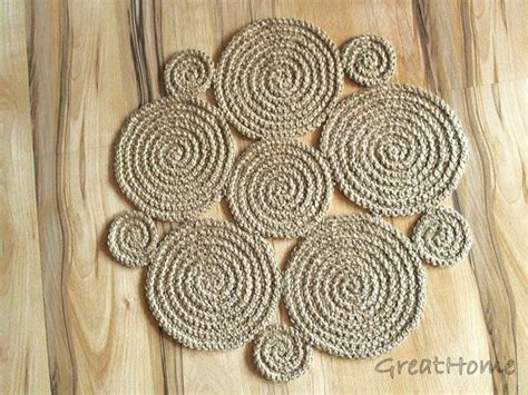 flower crochet rug natural jute rug handmade rug small area rug  crochet circles