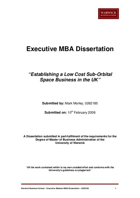 Mba Master Thesis Themen space tourism mba dissertation