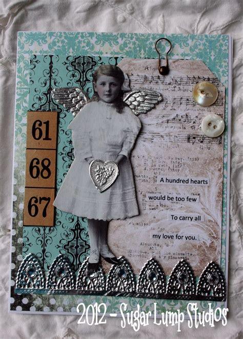 Handmade Collage - aqua handmade collage greeting card