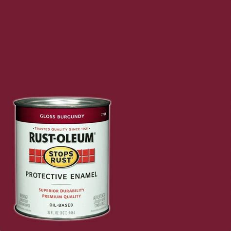 rust oleum stops rust 1 qt burgundy gloss protective enamel paint of 2 7768502 the