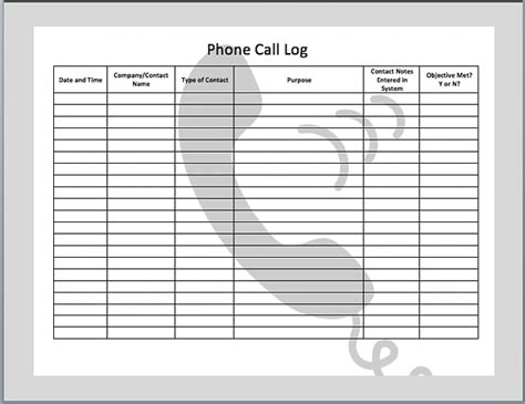 call log report template missed call log template images