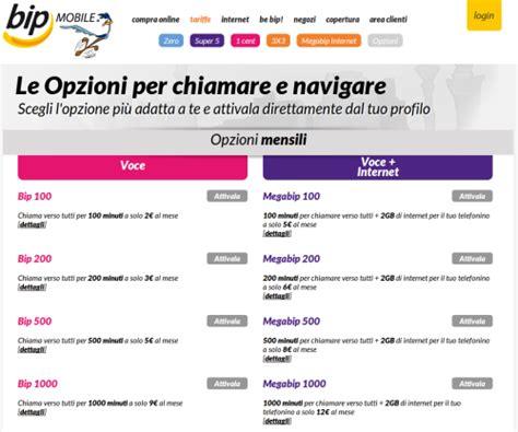 bip mobile nuove opzioni bip mobile 100 e 200 senza soldi