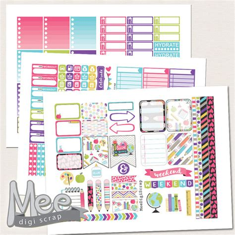 printable stickers for school school printable planner stickers for eclpback to school
