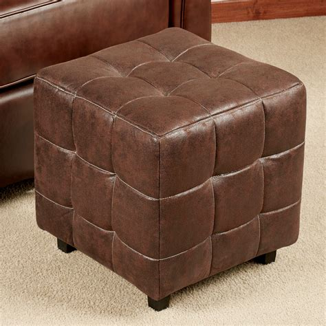 ottoman suede nexus light chocolate faux suede ottoman