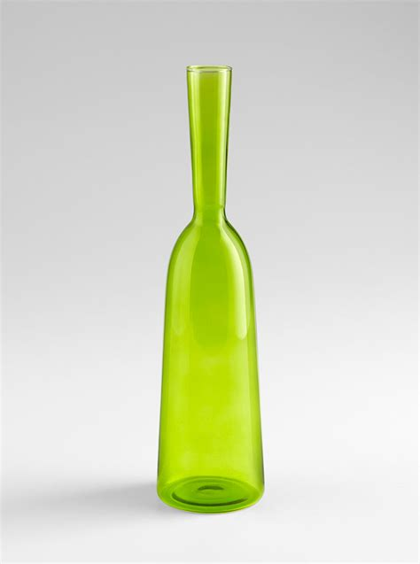 small green glass carafe vase by cyan design