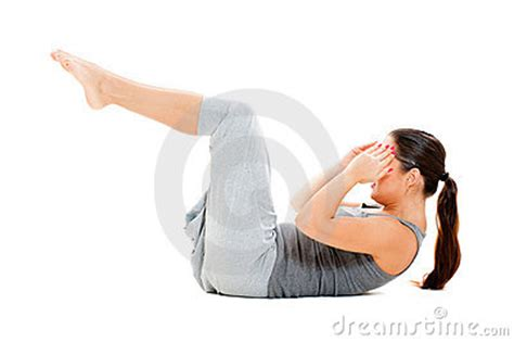 woman  exercises  abdominal muscles stock
