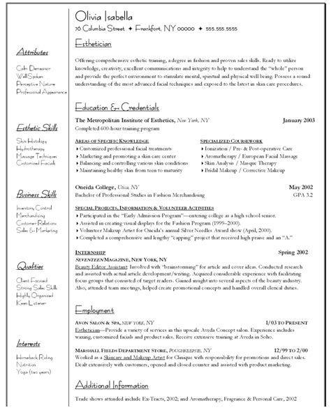 Aesthetic Resume Objective Exle Resume Exle Resume For Esthetician